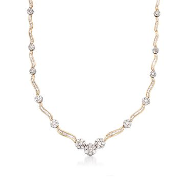 """C. 1980 Vintage 6.25 ct. t.w. Baguette and Round Diamond Necklace in 14kt Yellow Gold. 17.5"""", , default"""