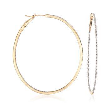 """.58 ct. t.w. Diamond Inside-Outside Oval Hoop Earrings in 14kt Yellow Gold. 2 1/4"""", , default"""