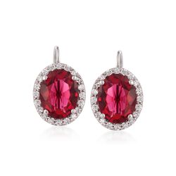 Oval Simulated Ruby and .25 ct. t.w. CZ Earrings in Sterling Silver, , default