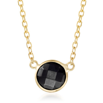 6mm Black Onyx Necklace in 14kt Yellow Gold, , default