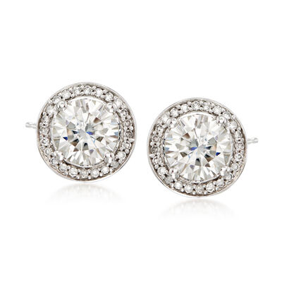 2.00 ct. t.w. Synthetic Moissanite and .19 ct. t.w. Diamond Earrings in 14kt White Gold, , default