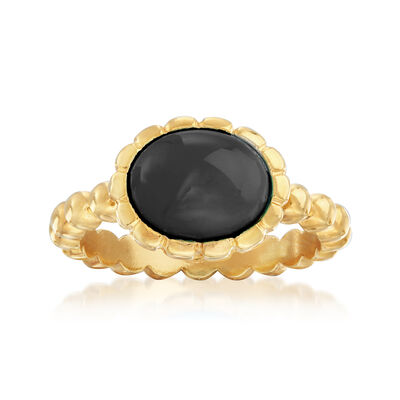 Italian 10x8mm Black Onyx Oval Ring in 18kt Gold Over Sterling
