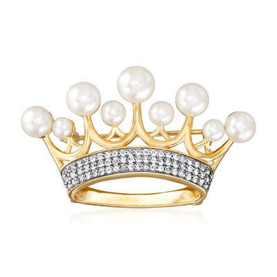 4-7.5mm Cultured Freshwater Pearl and .60 ct. t.w. White Topaz Crown Pin in 18kt Gold Over Sterling