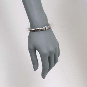 "Roberto Coin ""Primavera"" .18 ct. t.w. Diamond Bangle Bracelet in 18kt White Gold. 7"""