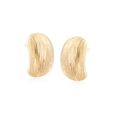 Italian Diamond-Cut Curved Drop Earrings in 18kt Yellow Gold, , default