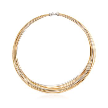 "ALOR ""Classique"" Tri-Colored Stainless Steel Cable Multi-Strand Necklace. 17"", , default"
