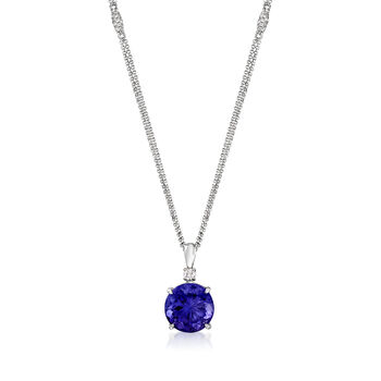 9.75 Carat Tanzanite and .81 ct. t.w. Diamond Pendant Necklace in 18kt White Gold. 16""