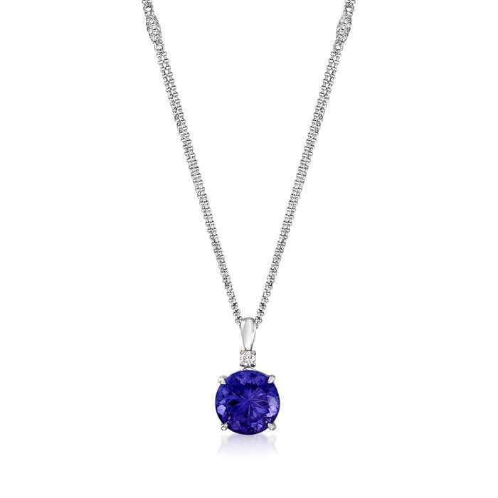 9.75 Carat Tanzanite and .81 ct. t.w. Diamond Pendant Necklace in 18kt White Gold