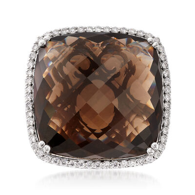 45.00 Carat Smoky Quartz and 2.80 ct. t.w. White Topaz Ring in Sterling Silver, , default