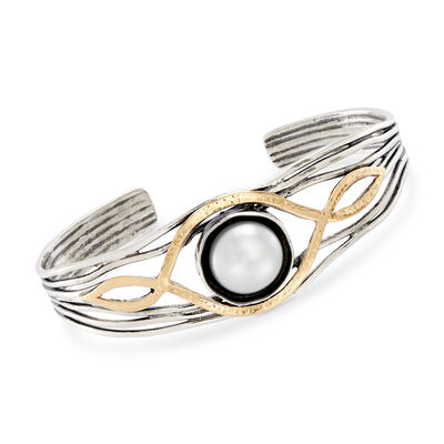 11.5-12mm Cultured Pearl Multi-Row Cuff Bracelet in 14kt Yellow Gold and Sterling Silver, , default