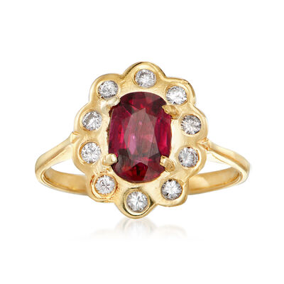 C. 1980 Vintage 1.08 Carat Ruby and .25 ct. t.w. Diamond Ring in 18kt Yellow Gold, , default