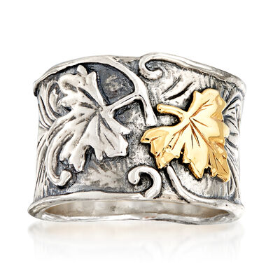 Oxidized Sterling Silver and 14kt Yellow Gold Leaf Ring