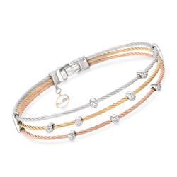"ALOR ""Classique"" .18 ct. t.w. Diamond Tri-Colored Cable Bracelet With 18kt Two-Tone Gold. 7"", , default"