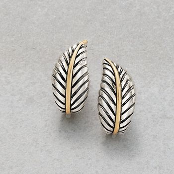 Sterling Silver and 14kt Yellow Gold Leaf Earrings, , default
