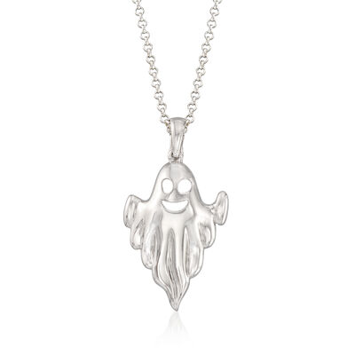 Sterling Silver Ghost Pendant Necklace, , default