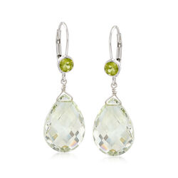 14.00 ct. t.w. Green Prasiolite and .80 ct. t.w. Peridot Drop Earrings in Sterling Silver , , default