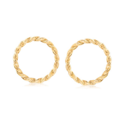 Italian 14kt Yellow Gold Twisted Open Circle Drop Earrings, , default