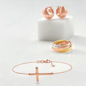 """14kt Rose Gold Sideways Cross Bracelet. 7"""", , default"""
