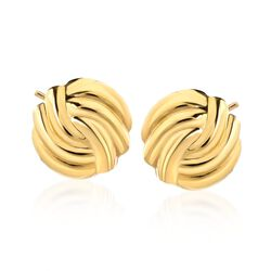 14kt Yellow Gold Domed Love Knot Stud Earrings, , default