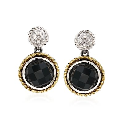 Andrea Candela Black Onyx Doublet Earrings with Diamonds in Sterling Silver and 18kt Yellow Gold, , default