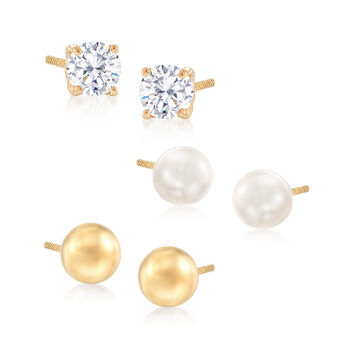 .20 ct. t.w. CZ and Cultured Pearl in 14kt Yellow Gold Jewelry Set: Three Pairs of Stud Earrings, , default