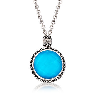 """Andrea Candela """"Trebol"""" Stabilized Turquoise and Rock Crystal Pendant Necklace with Diamond Accents in Sterling Silver, , default"""