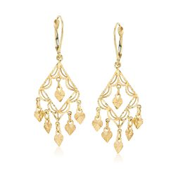 14kt Yellow Gold Filigree Chandelier Earrings, , default