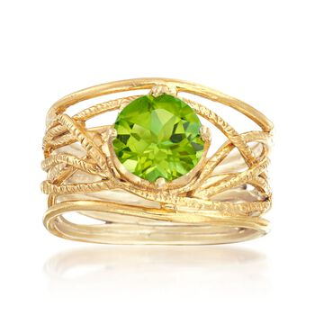 1.90 Carat Peridot Textured Openwork Ring in 18kt Gold Over Sterling, , default