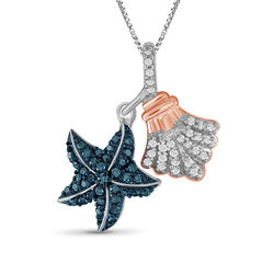 .32 ct. t.w. Blue and White Diamond Sea Life Pendant Necklace in Two-Tone Sterling, , default