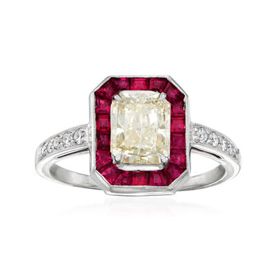 C. 1990 Vintage 1.71 ct. t.w. Diamond and .36 ct. t.w. Ruby Ring in Platinum