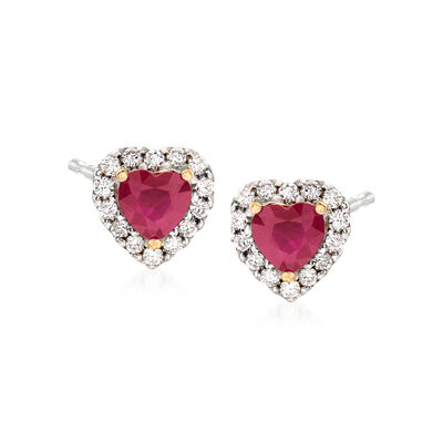 1.10 ct. t.w. Ruby and .28 ct. t.w. Diamond Heart Earrings in 14kt Two-Tone Gold, , default