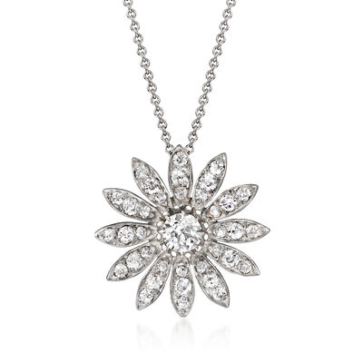 C. 1990 Vintage 1.70 ct. t.w. Diamond Flower Pendant Necklace in 14kt White Gold