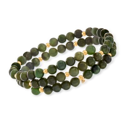 Green Jade Bead Wrap Bracelet with 14kt Yellow Gold