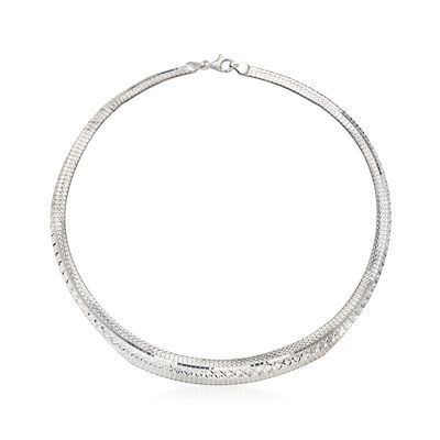 Italian Sterling Silver Diamond-Cut Cleopatra Necklace