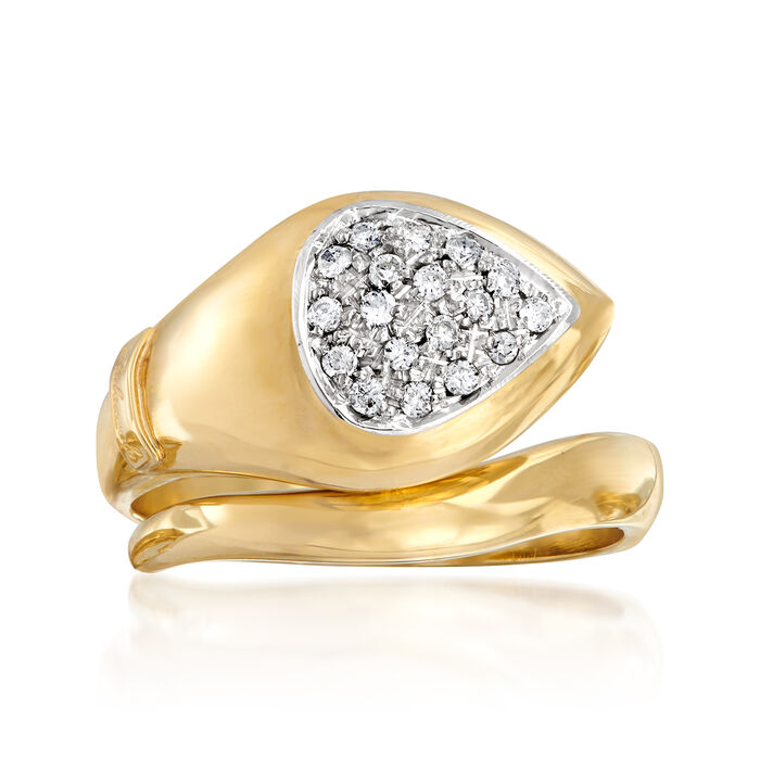 C. 1980 Vintage Palazzolo .24 ct. t.w. Diamond Snake Ring 18kt Yellow Gold. Size 7.5