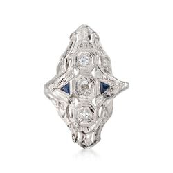 C. 1990 Vintage .35 ct. t.w. Diamond and Faux Sapphire Ring in 18kt White Gold, , default