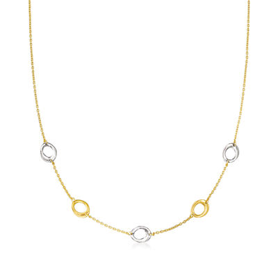 Italian 14kt Two-Tone Gold Oval-Link Station Necklace, , default