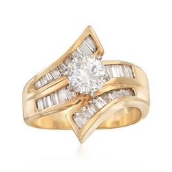 C. 1990 Vintage 2.20 Round and Baguette Diamond Ring in 14kt Yellow Gold, , default