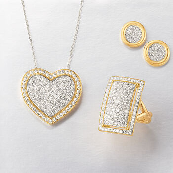 "2.10 ct. t.w. Pave Diamond Heart Pendant Necklace in 14kt Two-Tone Gold. 16"", , default"