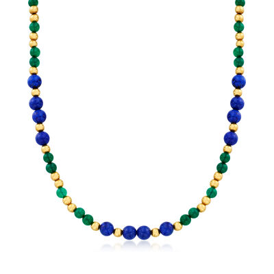 C. 1980 Vintage Lapis, Green Chalcedony and Red Coral Beaded Necklace in 18kt Yellow Gold