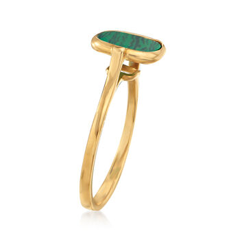 Italian Simulated Malachite Square Ring in 14kt Yellow Gold. Size 6.5, , default