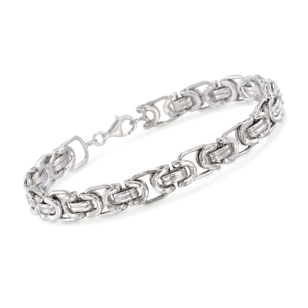 Men S Sterling Silver Byzantine Box Link Bracelet 8 5 Default