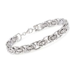 "Men's Sterling Silver Byzantine Box Link Bracelet. 8.5"", , default"