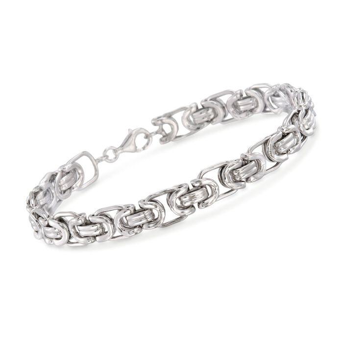 "Men's Sterling Silver Byzantine Box Link Bracelet. 8.5"", , default"