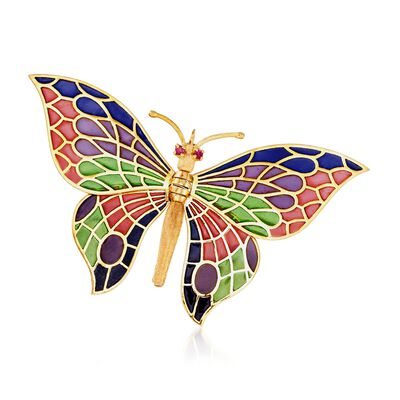 C. 1970 Vintage Multicolored Enamel Butterfly Pin in 18kt Yellow Gold, , default