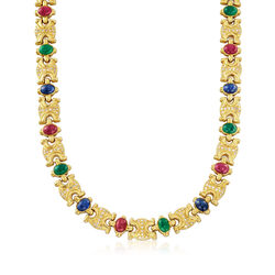 "C. 1980 Vintage 29.70 ct. t.w. Multi-Stone and 2.30 ct. t.w. Diamond Link Necklace in 18kt Gold. 16.5"", , default"