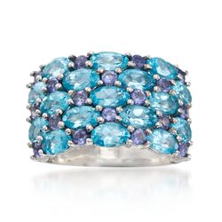 4.20 ct. t.w. Apatite and .50 ct. t.w. Iolite Cluster Ring in Sterling Silver, , default
