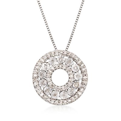 .21 ct. t.w. Diamond Open Circle Pendant Necklace in Sterling Silver, , default