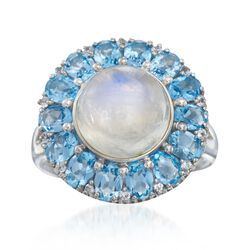 Moonstone Ring With 3.10 ct. t.w. White and Blue Topaz in Sterling Silver, , default