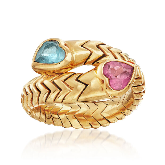 C. 1990 Vintage Bulgari .60 Carat Blue Topaz and .50 Carat Pink Tourmaline Heart Bypass Ring in 18kt Yellow Gold. Size 7.5, , default
